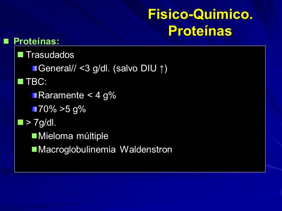 Fisico-Quimico. Proteínas Proteínas: Proteínas: Trasudados Trasudados General// <3 g/dl. (salvo DIU ) TBC: TBC: Raramente < 4 g% 70% >5 g% > 7g/dl. >