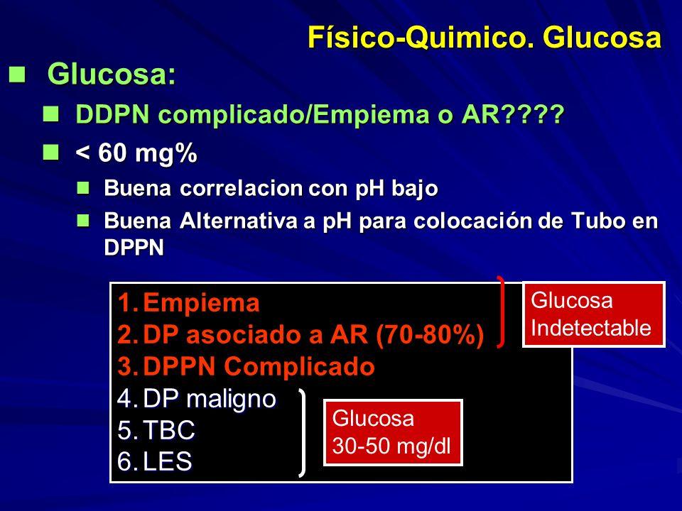 Físico-Quimico. Glucosa Glucosa: Glucosa: DDPN complicado/Empiema o AR???? DDPN complicado/Empiema o AR???? < 60 mg% < 60 mg% Buena correlacion con pH