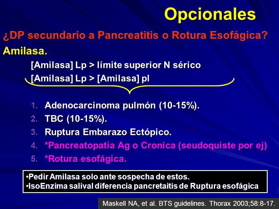 Opcionales ¿DP secundario a Pancreatitis o Rotura Esofágica?Amilasa. [Amilasa] Lp > límite superior N sérico [Amilasa] Lp > [Amilasa] pl 1. Adenocarci