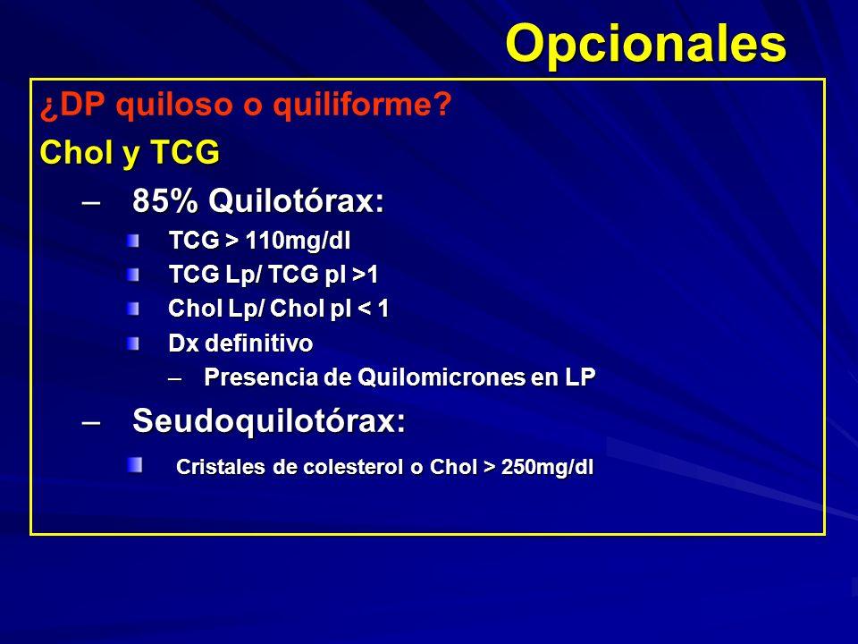 Opcionales ¿DP quiloso o quiliforme? Chol y TCG –85% Quilotórax: TCG > 110mg/dl TCG Lp/ TCG pl >1 Chol Lp/ Chol pl < 1 Dx definitivo –Presencia de Qui