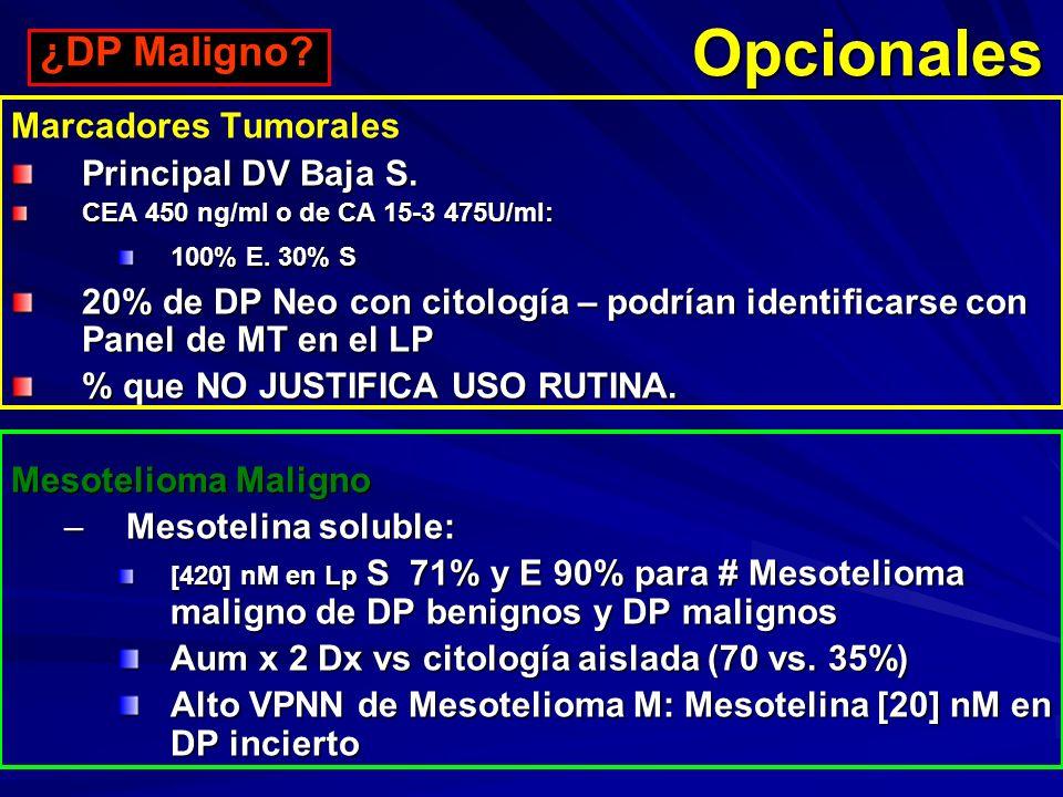 Opcionales Marcadores Tumorales Principal DV Baja S. CEA 450 ng/ml o de CA 15-3 475U/ml: 100% E. 30% S 20% de DP Neo con citología – podrían identicar