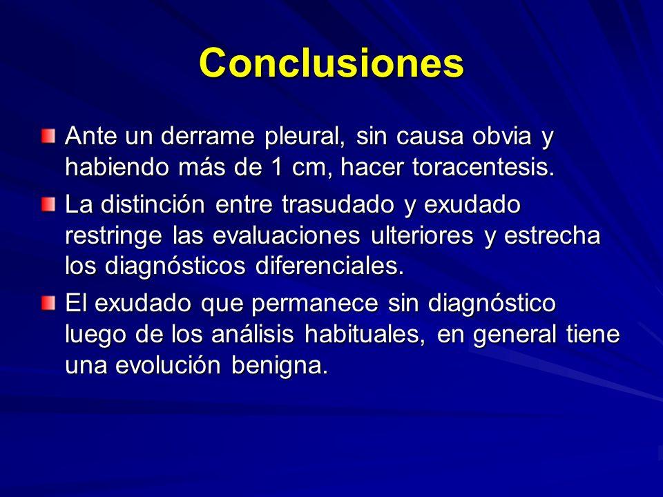 Conclusiones Ante un derrame pleural, sin causa obvia y habiendo más de 1 cm, hacer toracentesis. La distinción entre trasudado y exudado restringe la
