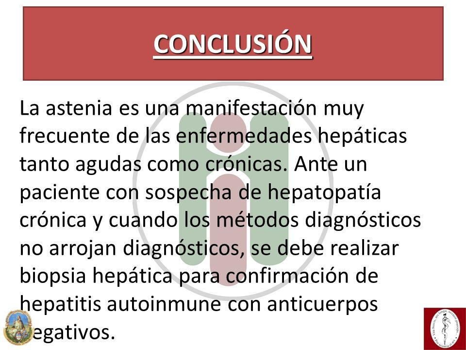 Conclusión La astenia es una manifestación muy frecuente de las enfermedades hepáticas tanto agudas como crónicas. Ante un paciente con sospecha de he