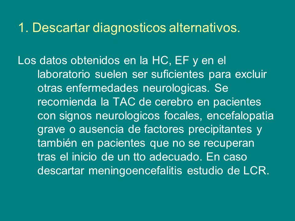 1. Descartar diagnosticos alternativos. Los datos obtenidos en la HC, EF y en el laboratorio suelen ser suficientes para excluir otras enfermedades ne