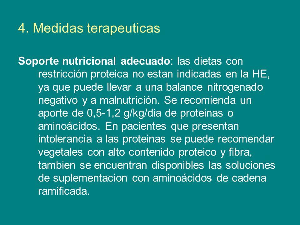 4. Medidas terapeuticas Soporte nutricional adecuado: las dietas con restricción proteica no estan indicadas en la HE, ya que puede llevar a una balan