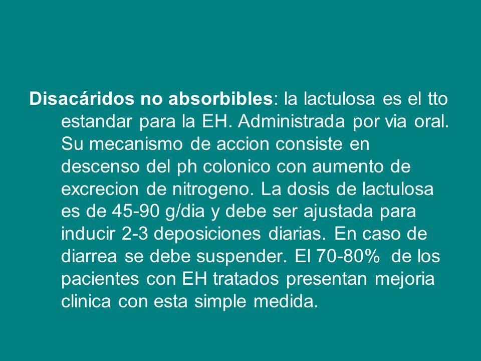 Disacáridos no absorbibles: la lactulosa es el tto estandar para la EH. Administrada por via oral. Su mecanismo de accion consiste en descenso del ph