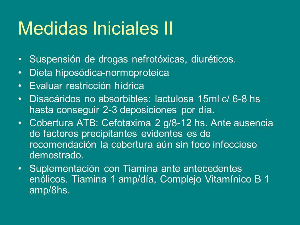 Medidas Iniciales II Suspensión de drogas nefrotóxicas, diuréticos. Dieta hiposódica-normoproteica Evaluar restricción hídrica Disacáridos no absorbib