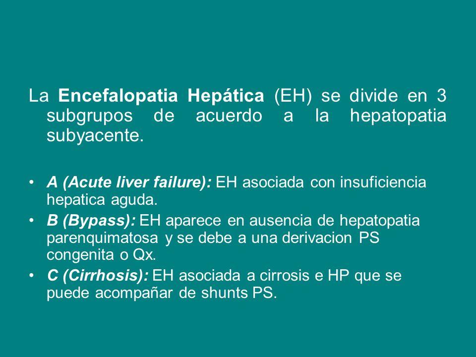 La Encefalopatia Hepática (EH) se divide en 3 subgrupos de acuerdo a la hepatopatia subyacente. A (Acute liver failure): EH asociada con insuficiencia
