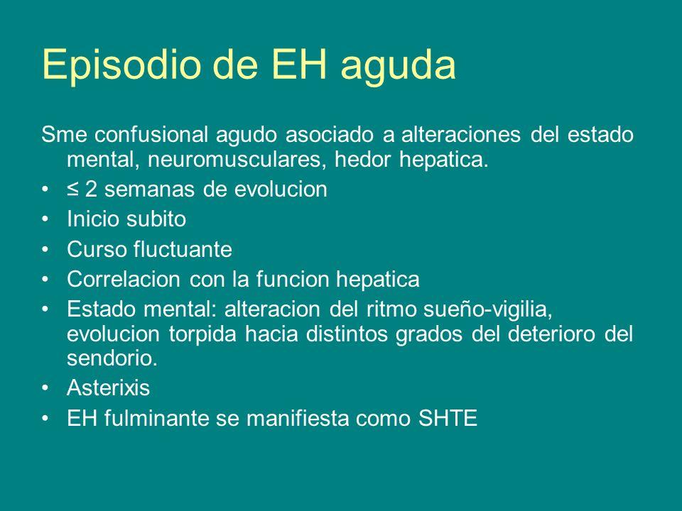 Episodio de EH aguda Sme confusional agudo asociado a alteraciones del estado mental, neuromusculares, hedor hepatica. 2 semanas de evolucion Inicio s