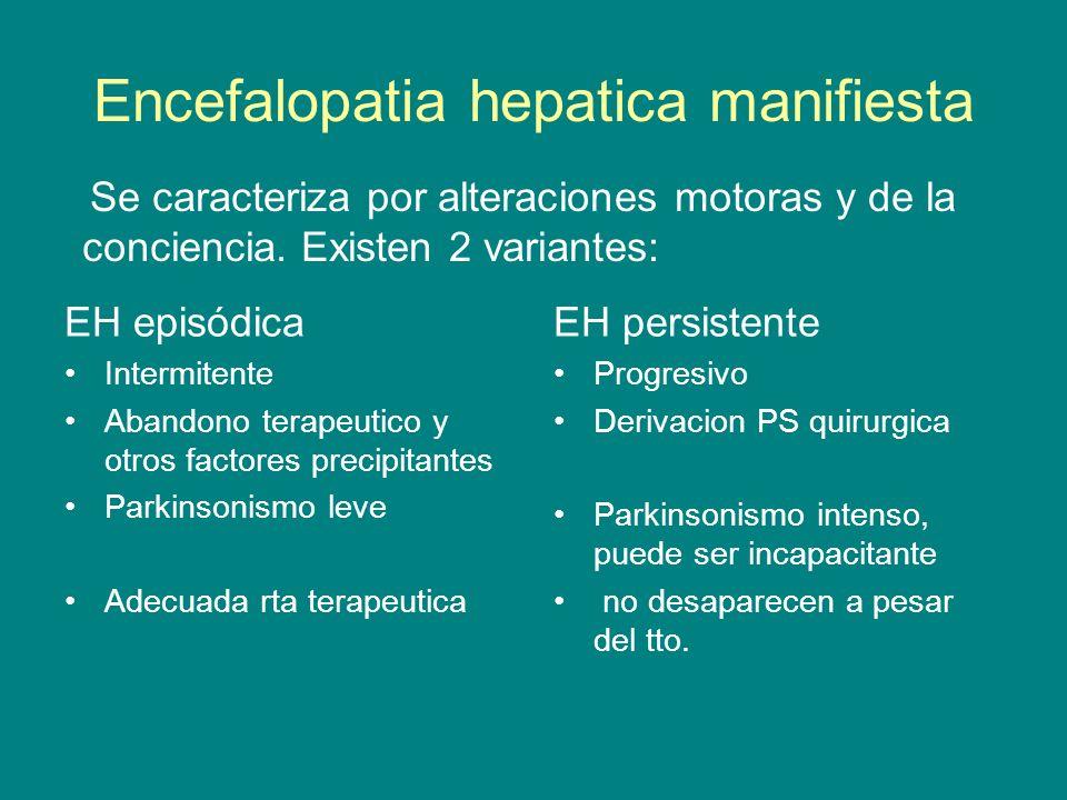 Encefalopatia hepatica manifiesta EH episódica Intermitente Abandono terapeutico y otros factores precipitantes Parkinsonismo leve Adecuada rta terape