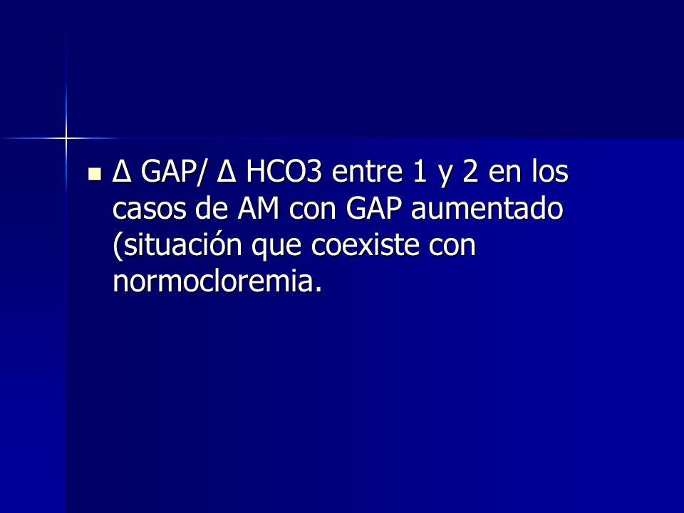 Relación Δ GAP/Δ HCO 3 Relación que existe entre la elevación del GAP y la caída de la concentración plasmática de HCO3 Relación que existe entre la e