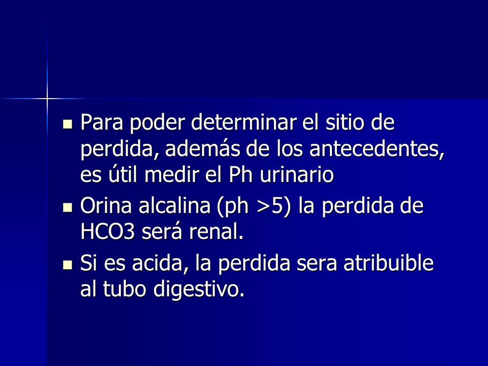 Si el GAP es adecuadamente negativo, se asume que la capacidad renal de acidificar está integra y que la acidosis se debe a pérdida de HCO3- renal y/o