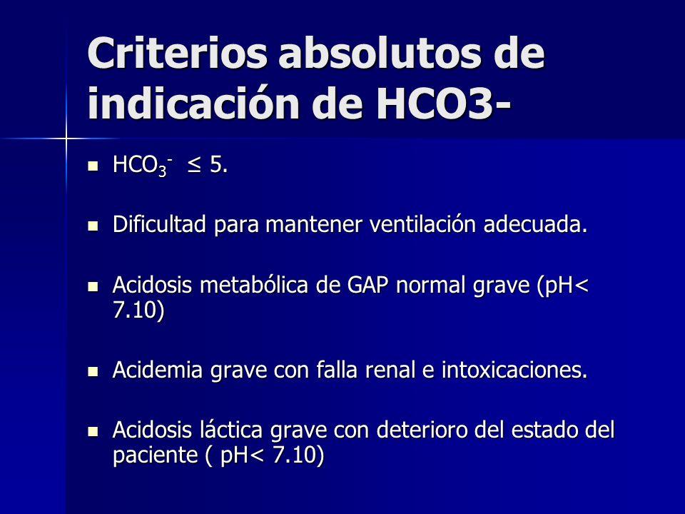 Tratamiento Tratar la causa. Tratar la causa. Administración de HCO 3 : Administración de HCO 3 : A favor: mejora la perfusión tisular por reversión d
