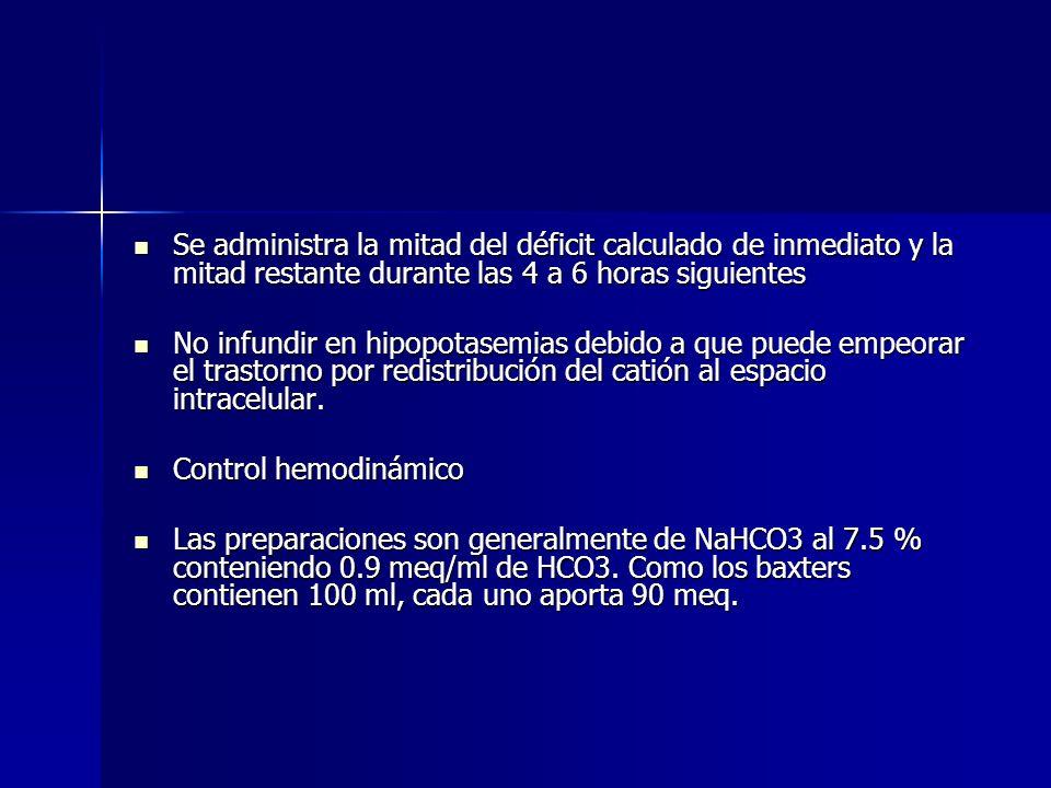 Déficit de HCO 3 Déficit de HCO 3 0.6 x peso x (HCO 3 deseado – medido) 0.6 x peso x (HCO 3 deseado – medido) 0.6 es el espacio de distribución del HC