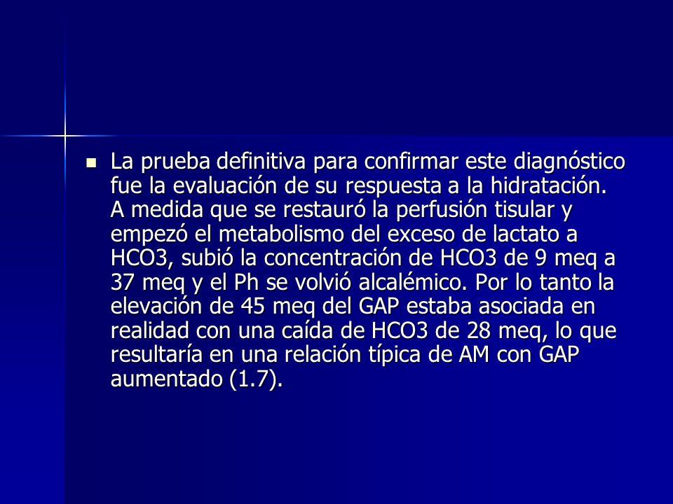 Comentario La paciente presenta una AM con GAP elevado. La acidosis láctica es más probable por los hallazgos de la exploración física (hipoperfusión)