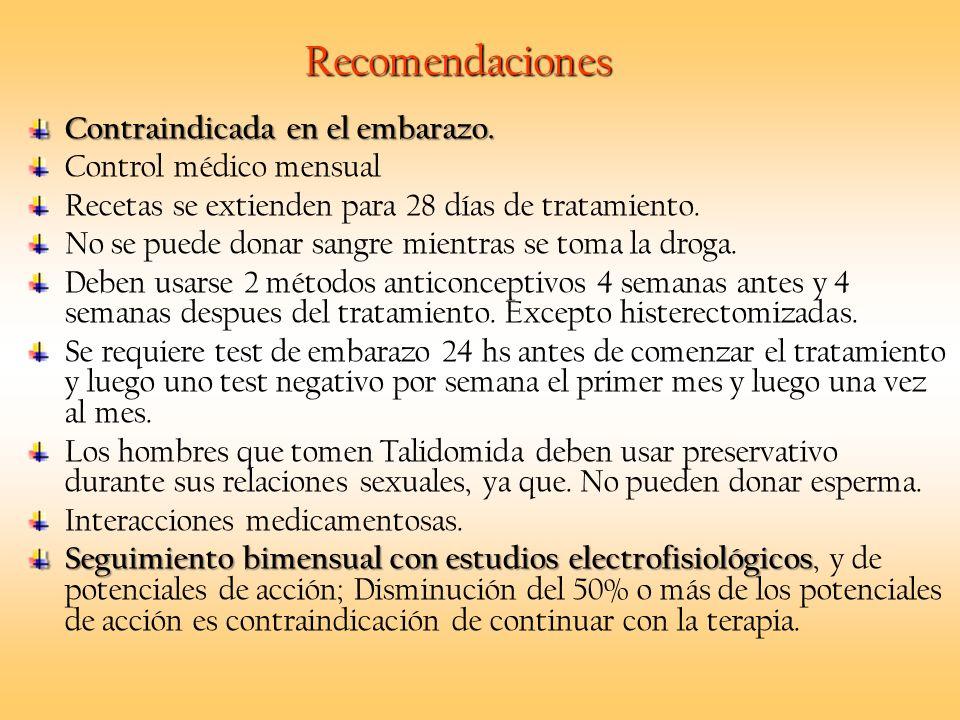 Recomendaciones Contraindicada en el embarazo. Control médico mensual Recetas se extienden para 28 días de tratamiento. No se puede donar sangre mient