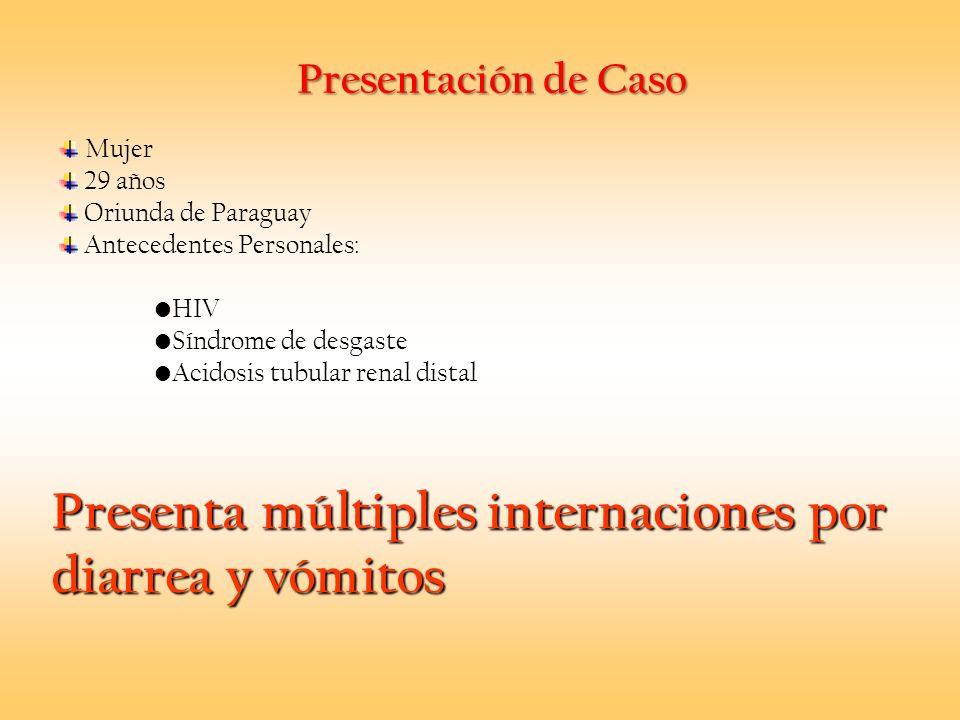 Presentación de Caso Mujer 29 años Oriunda de Paraguay Antecedentes Personales: HIV Síndrome de desgaste Acidosis tubular renal distal Presenta múltip