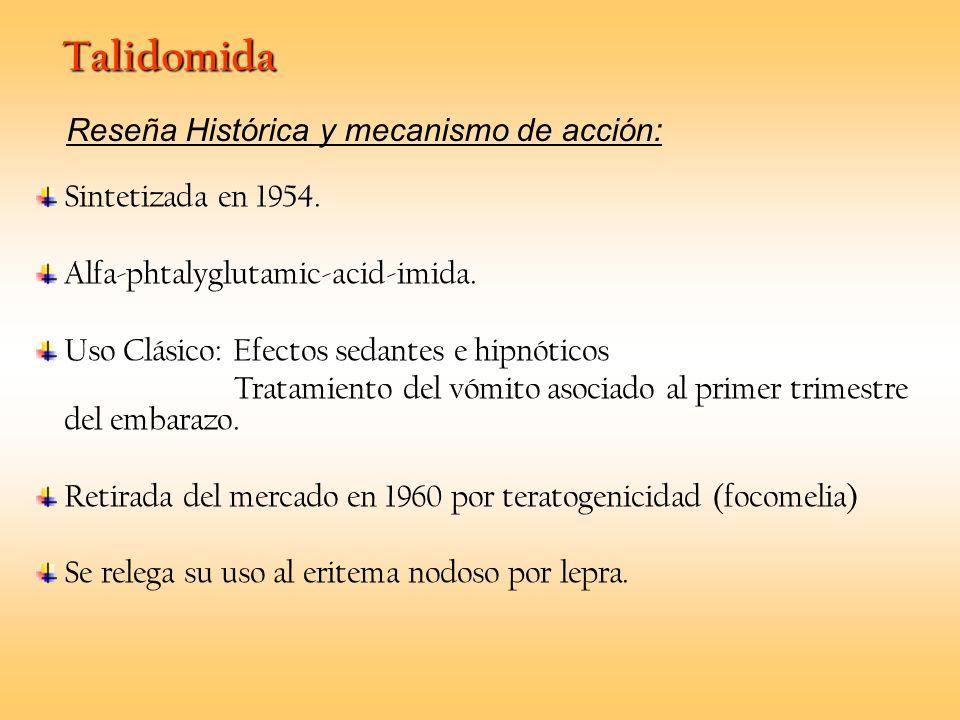 Talidomida Sintetizada en 1954. Alfa-phtalyglutamic-acid-imida. Uso Clásico: Efectos sedantes e hipnóticos Tratamiento del vómito asociado al primer t
