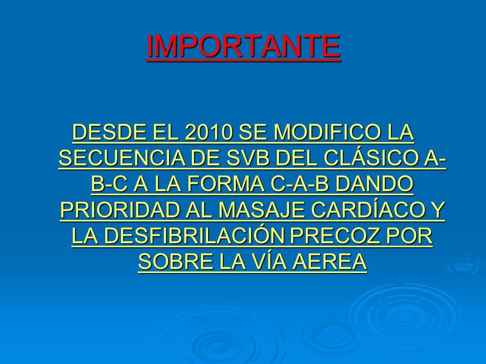 IMPORTANTE DESDE EL 2010 SE MODIFICO LA SECUENCIA DE SVB DEL CLÁSICO A- B-C A LA FORMA C-A-B DANDO PRIORIDAD AL MASAJE CARDÍACO Y LA DESFIBRILACIÓN PR