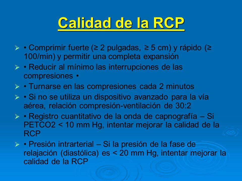 Calidad de la RCP Comprimir fuerte ( 2 pulgadas, 5 cm) y rápido ( 100/min) y permitir una completa expansión Reducir al mínimo las interrupciones de l