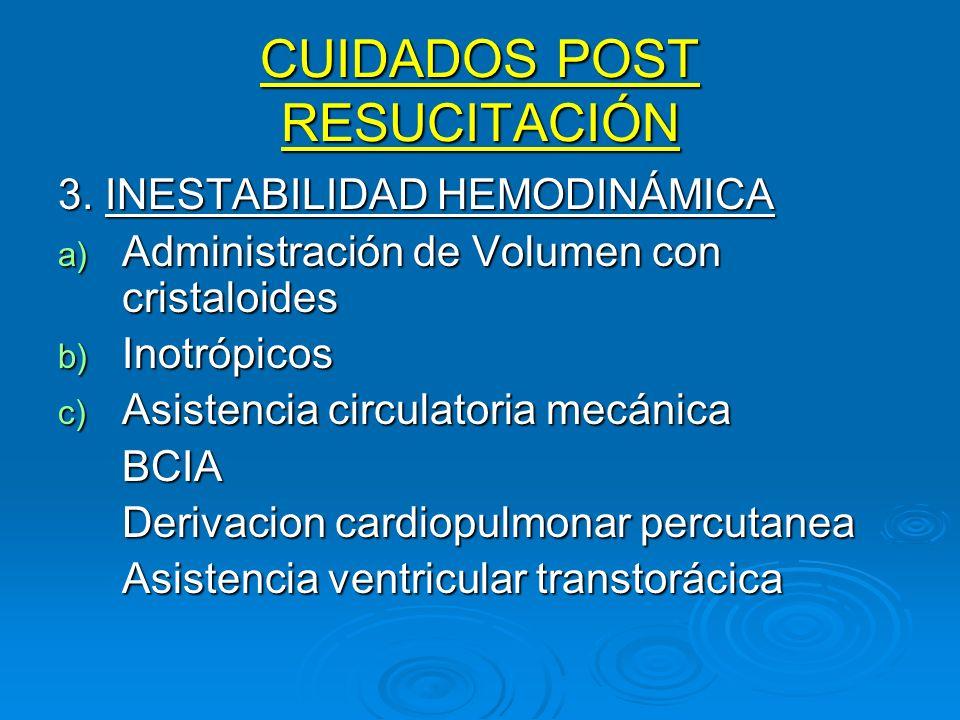 CUIDADOS POST RESUCITACIÓN 3. INESTABILIDAD HEMODINÁMICA a) Administración de Volumen con cristaloides b) Inotrópicos c) Asistencia circulatoria mecán