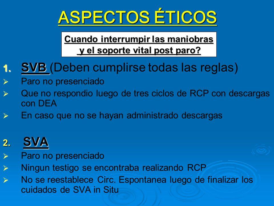 ASPECTOS ÉTICOS 1. SVB 1. SVB (Deben cumplirse todas las reglas) Paro no presenciado Que no respondio luego de tres ciclos de RCP con descargas con DE