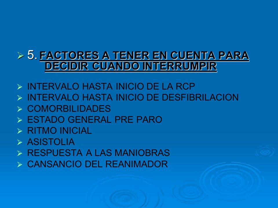 5. FACTORES A TENER EN CUENTA PARA DECIDIR CUANDO INTERRUMPIR 5. FACTORES A TENER EN CUENTA PARA DECIDIR CUANDO INTERRUMPIR INTERVALO HASTA INICIO DE