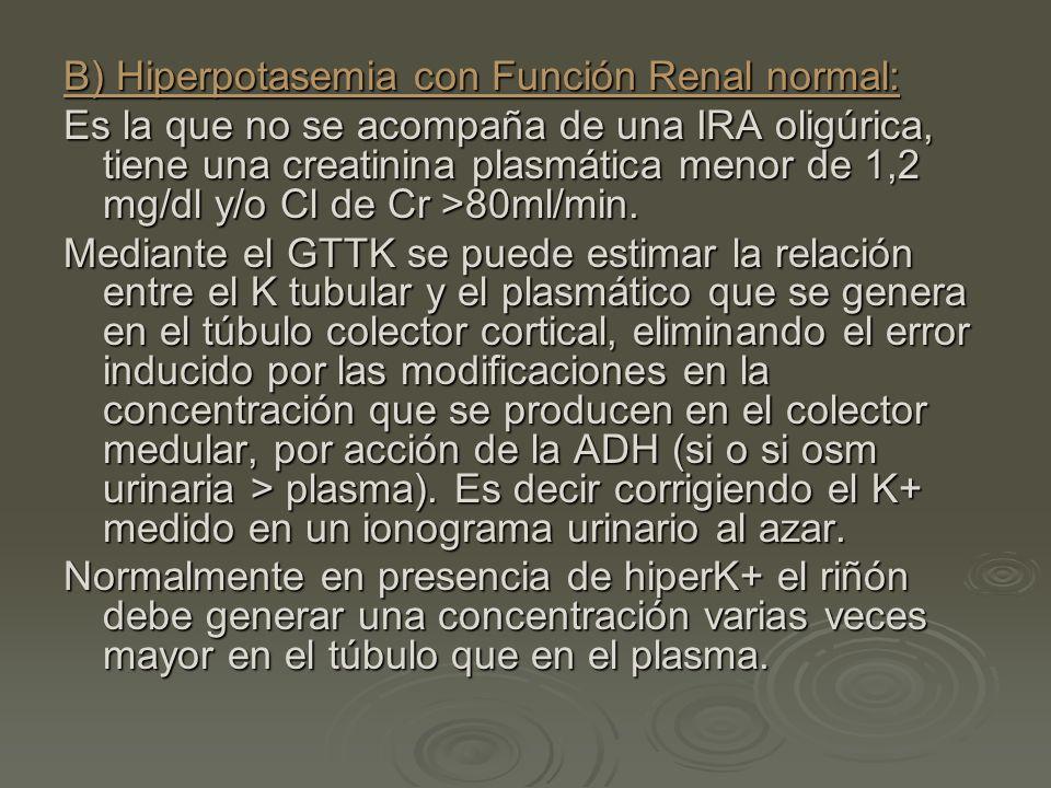 B) Hiperpotasemia con Función Renal normal: Es la que no se acompaña de una IRA oligúrica, tiene una creatinina plasmática menor de 1,2 mg/dl y/o Cl d