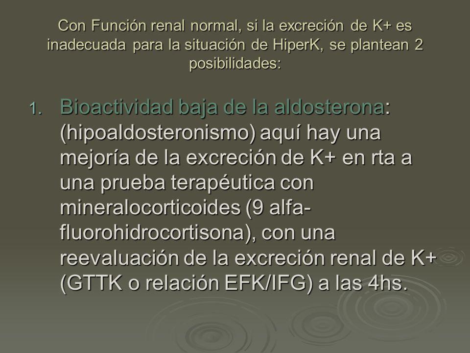 Con Función renal normal, si la excreción de K+ es inadecuada para la situación de HiperK, se plantean 2 posibilidades: 1. B ioactividad baja de la al