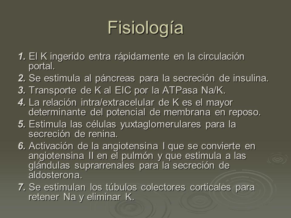 Fisiología 1. El K ingerido entra rápidamente en la circulación portal. 2. Se estimula al páncreas para la secreción de insulina. 3. Transporte de K a