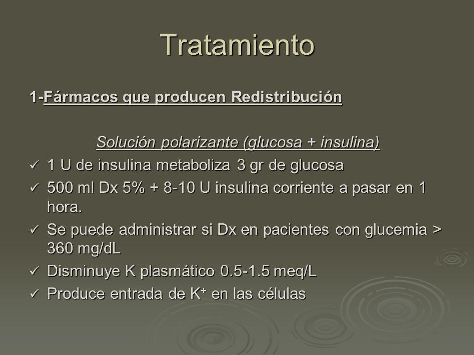 Tratamiento 1-Fármacos que producen Redistribución Solución polarizante (glucosa + insulina) 1 U de insulina metaboliza 3 gr de glucosa 1 U de insulin