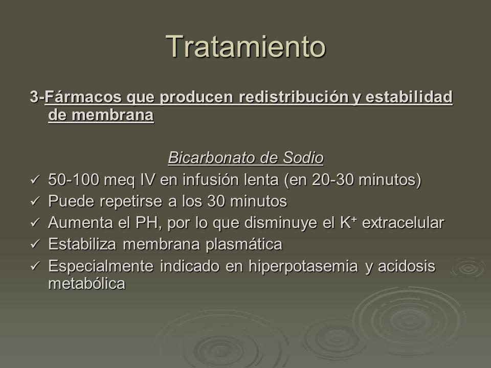 Tratamiento 3-Fármacos que producen redistribución y estabilidad de membrana Bicarbonato de Sodio 50-100 meq IV en infusión lenta (en 20-30 minutos) 5
