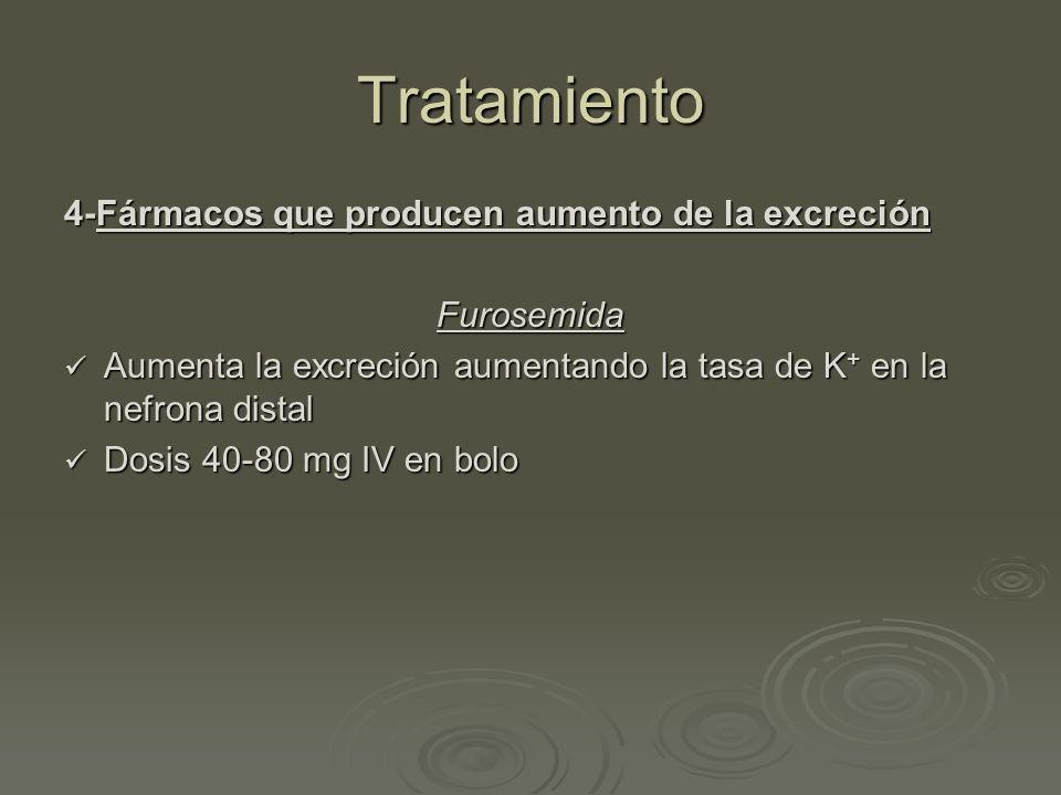 Tratamiento 4-Fármacos que producen aumento de la excreción Furosemida Aumenta la excreción aumentando la tasa de K + en la nefrona distal Aumenta la