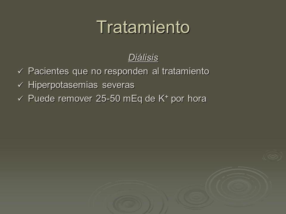 Tratamiento Diálisis Pacientes que no responden al tratamiento Pacientes que no responden al tratamiento Hiperpotasemias severas Hiperpotasemias sever
