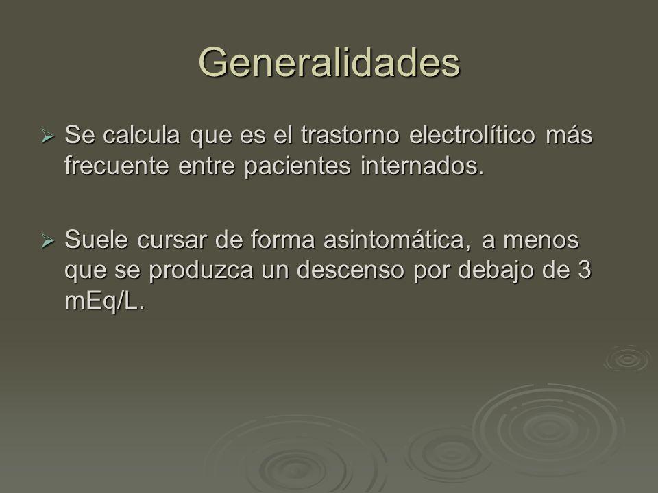 Generalidades Se calcula que es el trastorno electrolítico más frecuente entre pacientes internados. Se calcula que es el trastorno electrolítico más