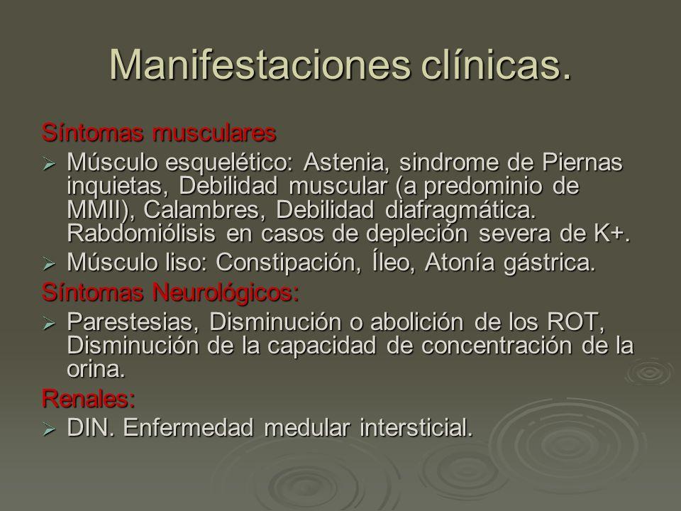 Manifestaciones clínicas. Síntomas musculares Músculo esquelético: Astenia, sindrome de Piernas inquietas, Debilidad muscular (a predominio de MMII),