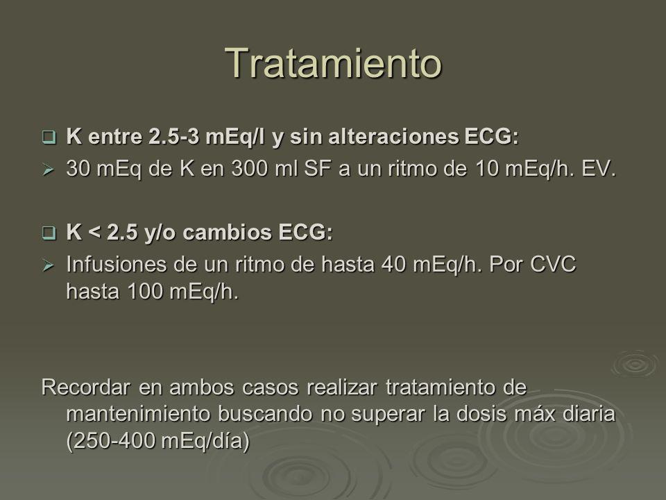 Tratamiento K entre 2.5-3 mEq/l y sin alteraciones ECG: K entre 2.5-3 mEq/l y sin alteraciones ECG: 30 mEq de K en 300 ml SF a un ritmo de 10 mEq/h. E