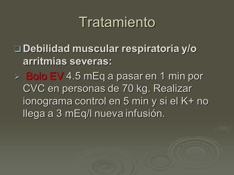 Tratamiento Debilidad muscular respiratoria y/o arritmias severas: Debilidad muscular respiratoria y/o arritmias severas: Bolo EV 4.5 mEq a pasar en 1