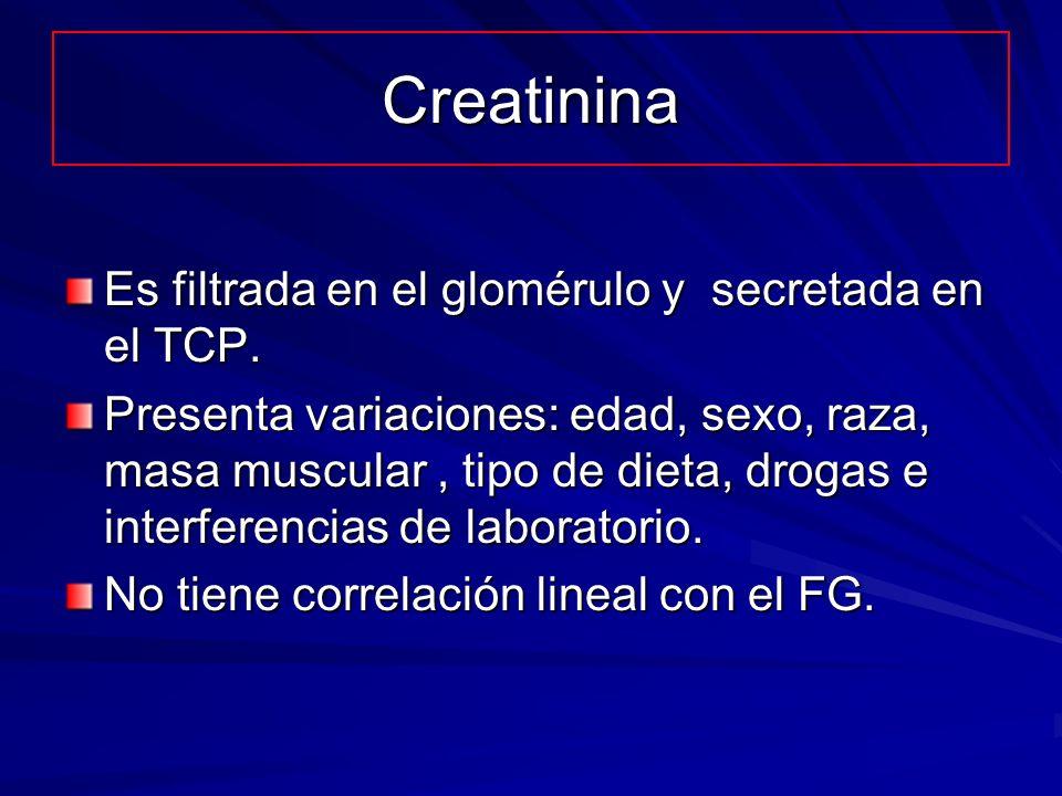 Creatinina Es filtrada en el glomérulo y secretada en el TCP. Presenta variaciones: edad, sexo, raza, masa muscular, tipo de dieta, drogas e interfere
