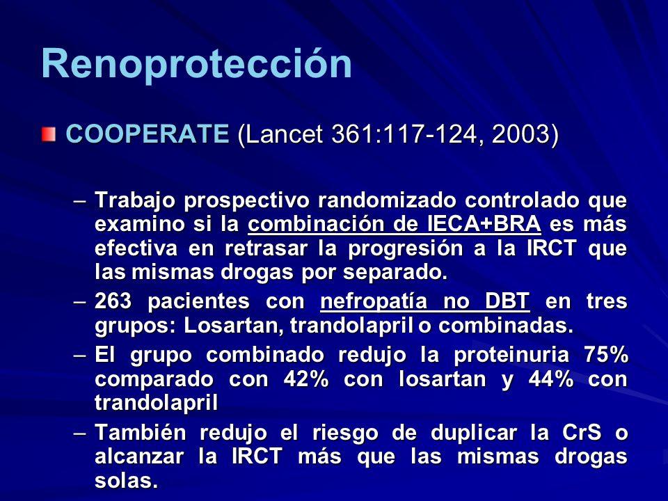 Renoprotección COOPERATE (Lancet 361:117-124, 2003) –Trabajo prospectivo randomizado controlado que examino si la combinación de IECA+BRA es más efect