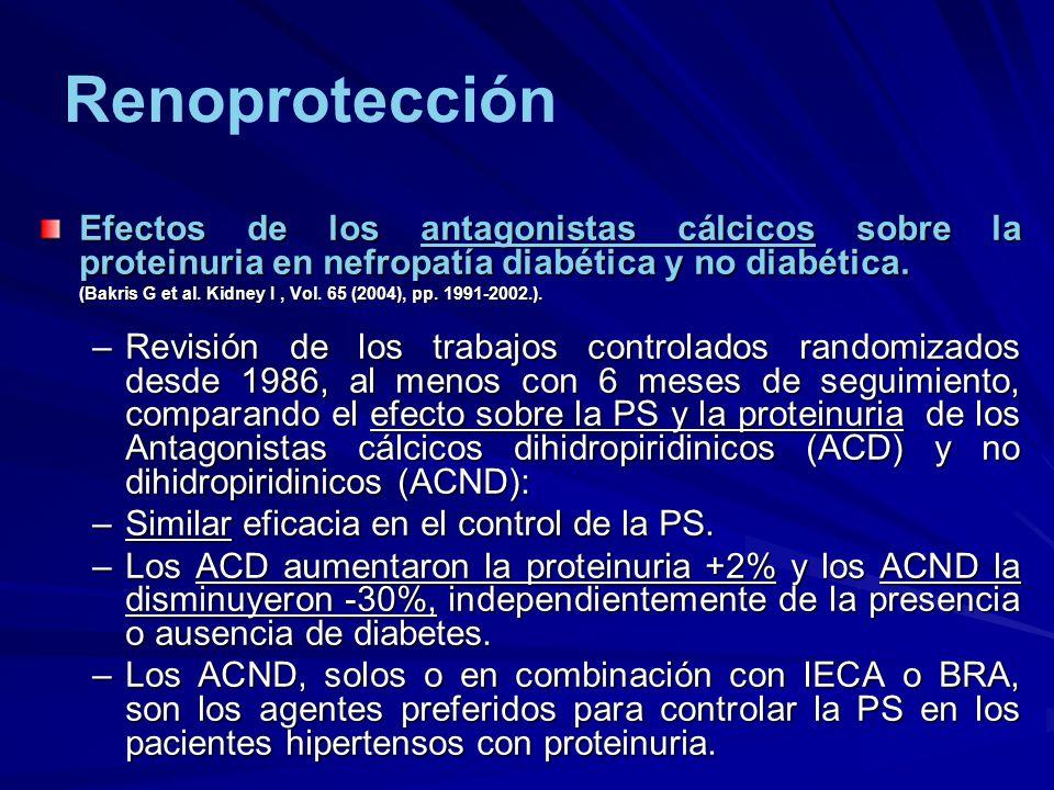 Renoprotección Efectos de los antagonistas cálcicos sobre la proteinuria en nefropatía diabética y no diabética. (Bakris G et al. Kidney I, Vol. 65 (2