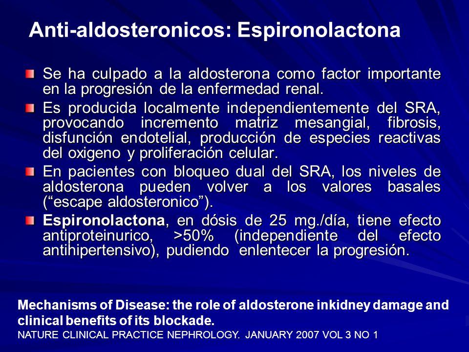 Anti-aldosteronicos: Espironolactona Se ha culpado a la aldosterona como factor importante en la progresión de la enfermedad renal. Es producida local