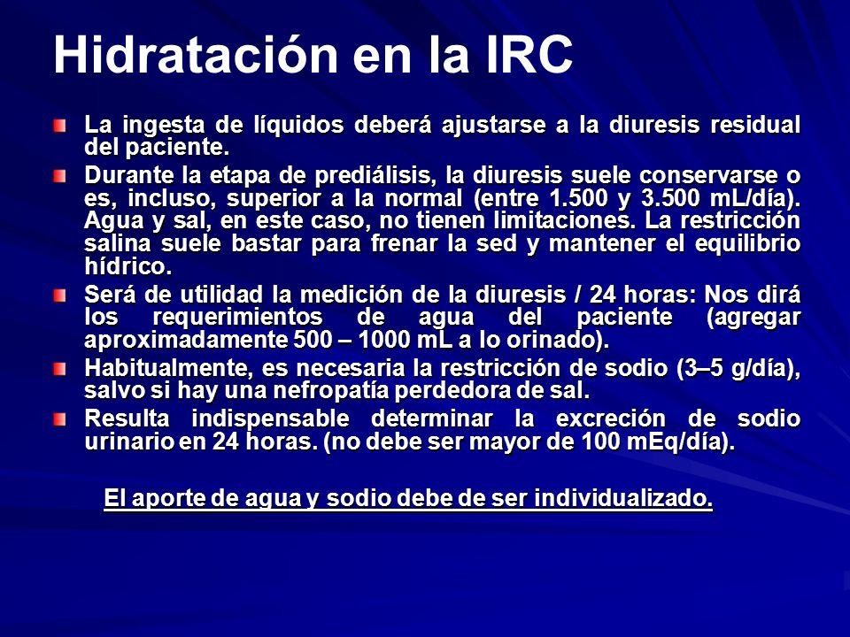 Hidratación en la IRC La ingesta de líquidos deberá ajustarse a la diuresis residual del paciente. Durante la etapa de prediálisis, la diuresis suele