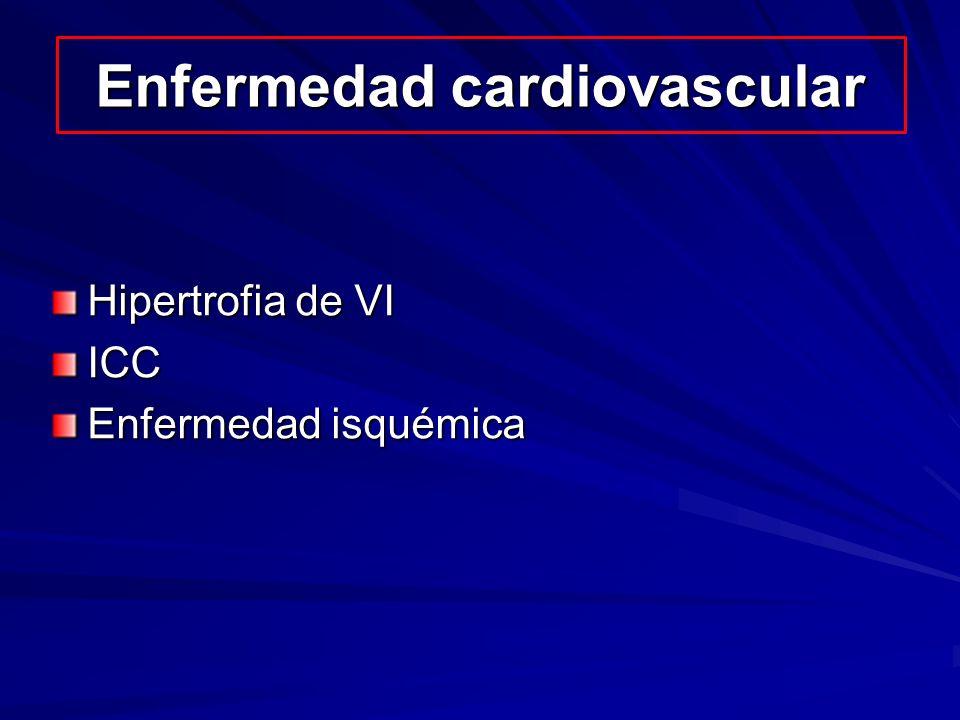 Enfermedad cardiovascular Hipertrofia de VI ICC Enfermedad isquémica