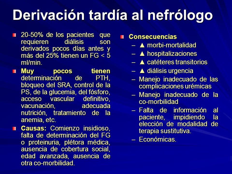 Derivación tardía al nefrólogo 20-50% de los pacientes que requieren diálisis son derivados pocos días antes y más del 25% tienen un FG < 5 ml/min. Mu