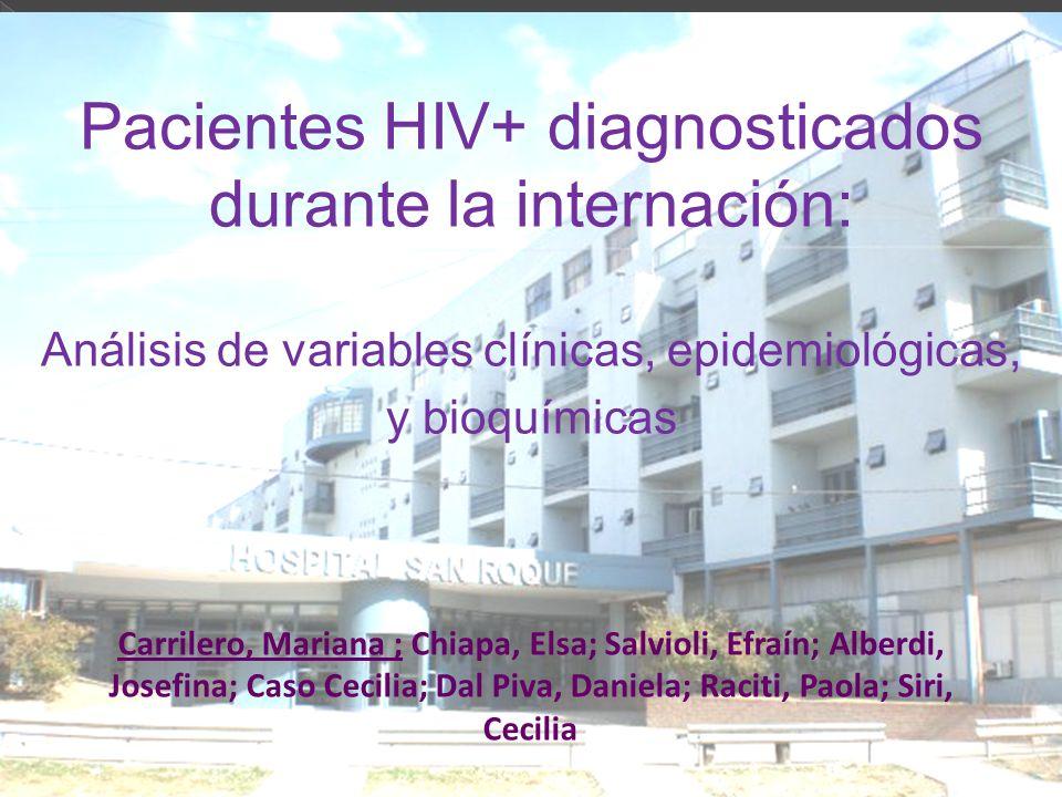¿Cuáles son las características de los pacientes HIV+ diagnosticados durante la internación en comparación con aquellos que ya fueron diagnosticados?