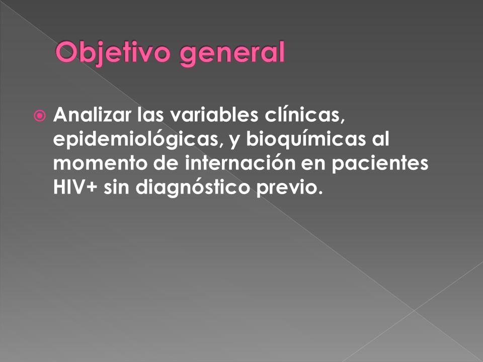 Analizar las variables clínicas, epidemiológicas, y bioquímicas al momento de internación en pacientes HIV+ sin diagnóstico previo.
