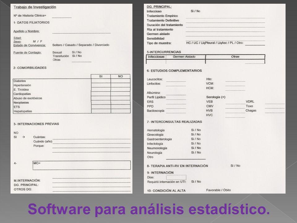 Software para análisis estadístico.