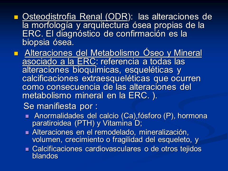 Osteodistrofia Renal (ODR): las alteraciones de la morfología y arquitectura ósea propias de la ERC. El diagnóstico de confirmación es la biopsia ósea