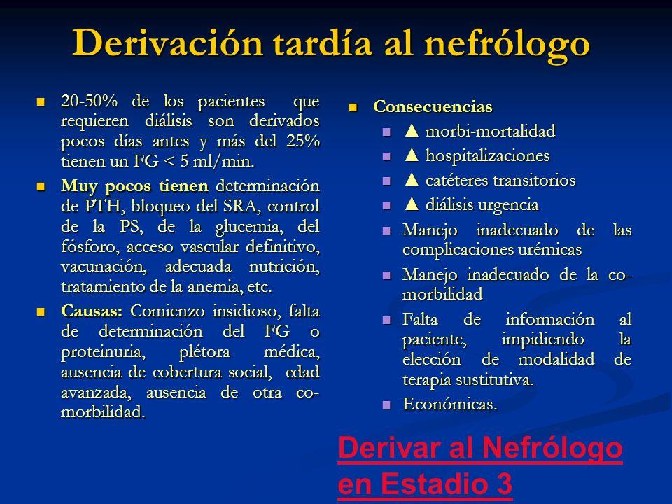 Derivación tardía al nefrólogo 20-50% de los pacientes que requieren diálisis son derivados pocos días antes y más del 25% tienen un FG < 5 ml/min. 20